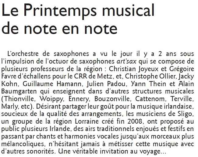 Article de presse Fullsaxos Project à Cattenom