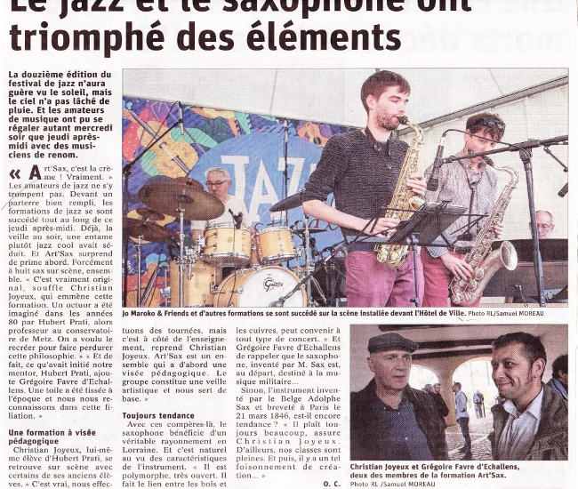 article de presse 2019 / festival jazz de Briey