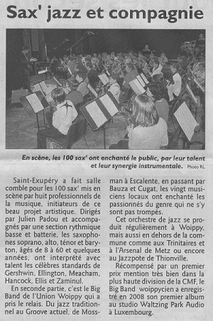 article presse du concert de FullSaxos Project à Woippy